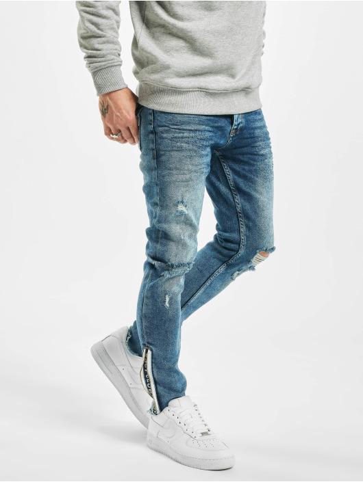 VSCT Clubwear Slim Fit Jeans Keanu Leg Zip modrý