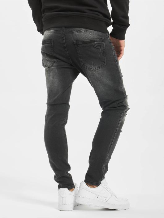 VSCT Clubwear Slim Fit Jeans Keanu Open Zip svart