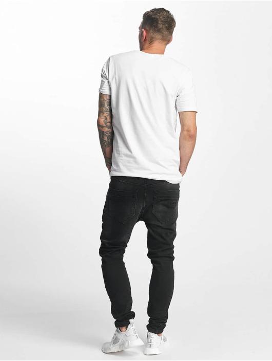 VSCT Clubwear Slim Fit Jeans Thor Slim 7 Pocket Denim with Zips svart