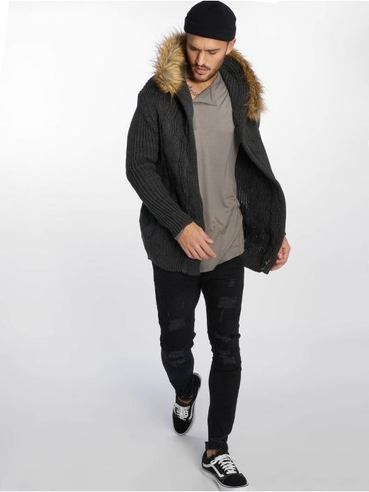 VSCT Clubwear Strickjacke Hooded Luxury Knit grau