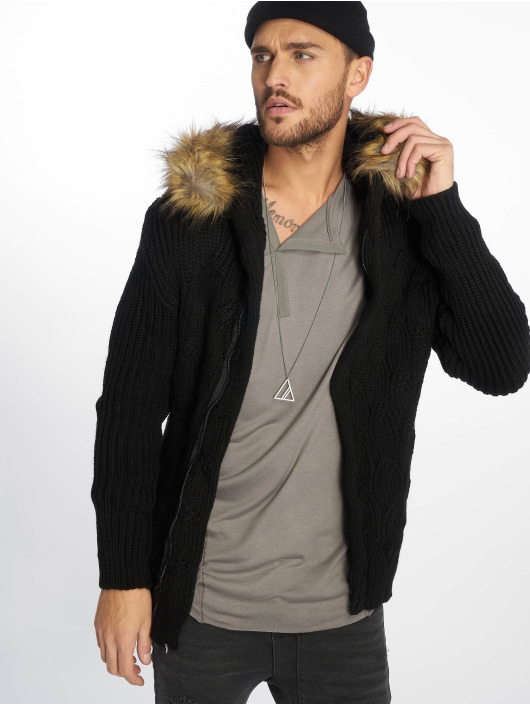 VSCT Clubwear Strickjacke Hooded schwarz