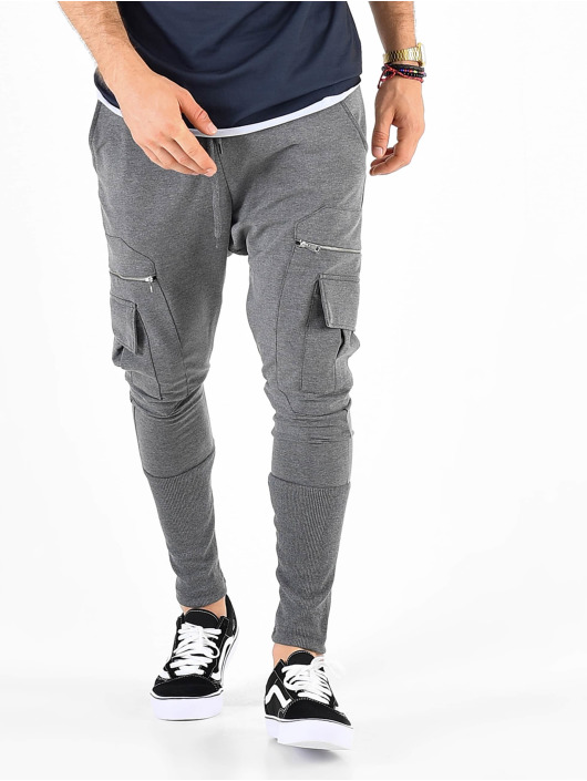 VSCT Clubwear Sweat Pant Low Crotch Slim Leg Cargo grey