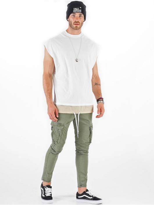 VSCT Clubwear T-shirt Luxury Double Hem Laces Sleeveless bianco