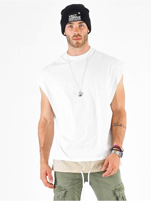 VSCT Clubwear T-Shirt Luxury Double Hem Laces Sleeveless blanc