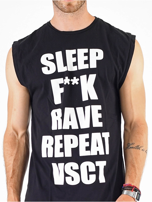 VSCT Clubwear T-shirt Sleep F**k Rave Sleeveless nero