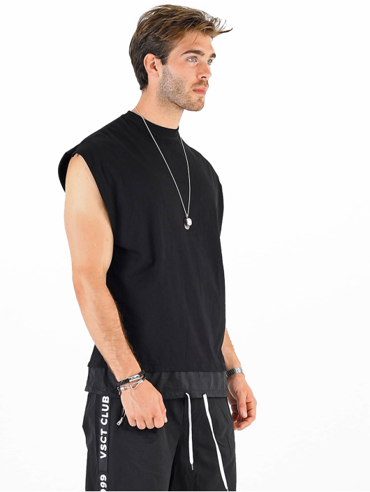 VSCT Clubwear T-Shirt Luxury Double Hem Laces Sleeveless noir