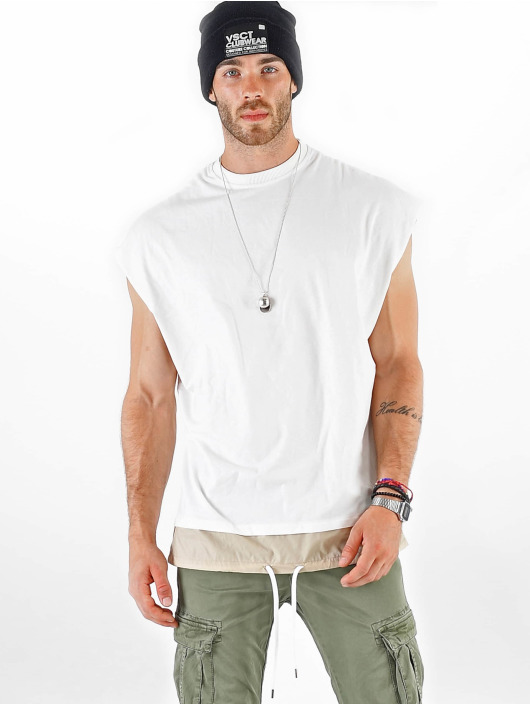 VSCT Clubwear T-Shirt Luxury Double Hem Laces Sleeveless white