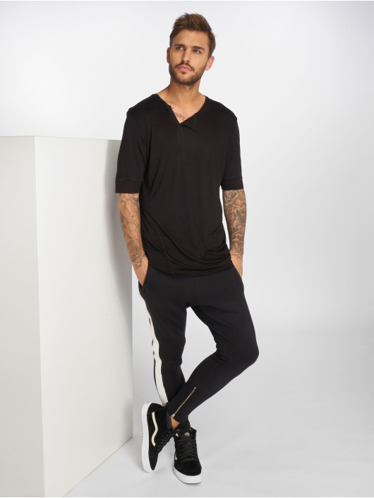 VSCT Clubwear T-Shirty 1/2 Cut Collar czarny