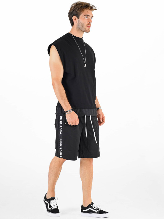 VSCT Clubwear T-Shirty Luxury Double Hem Laces Sleeveless czarny