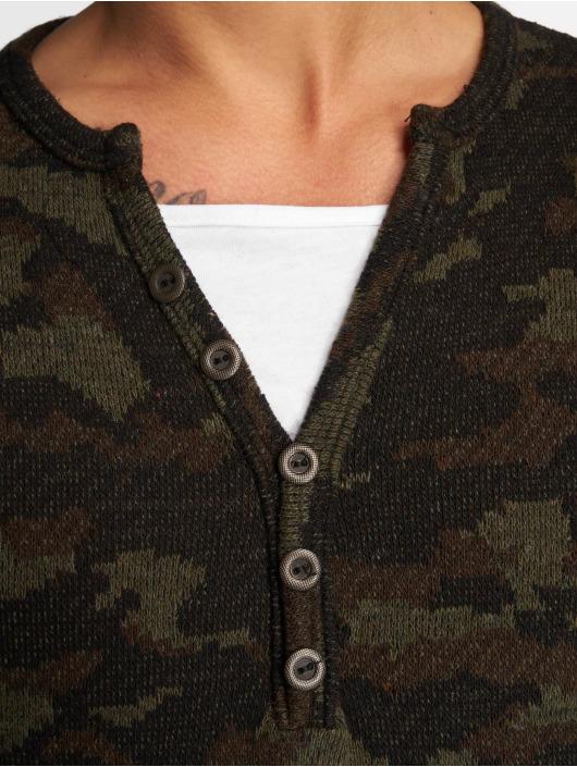VSCT Clubwear Tričká dlhý rukáv Buttoned Double Optic maskáèová