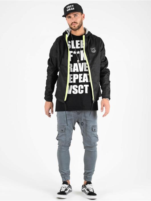 VSCT Clubwear Übergangsjacke Conzraast Neon Zipper schwarz