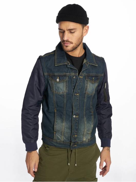 VSCT Clubwear Veste Jean Bomber Sleeves bleu