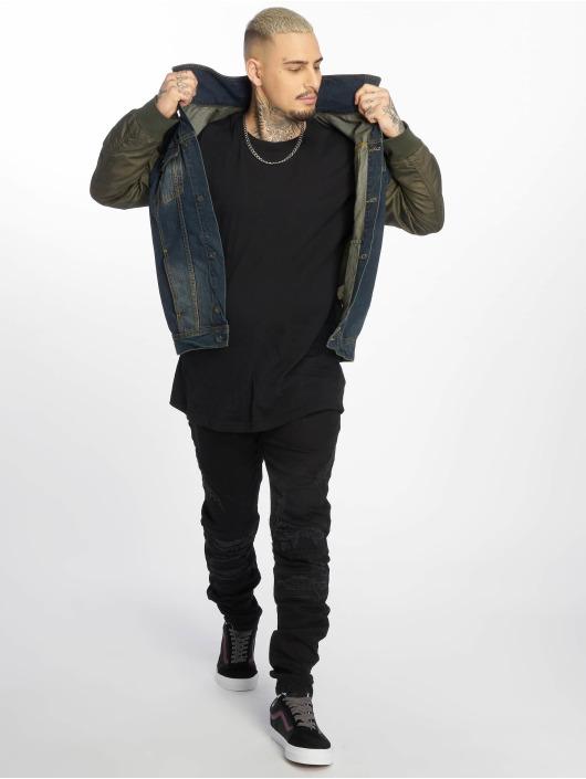 VSCT Clubwear Veste Jean Bomber Sleeves kaki