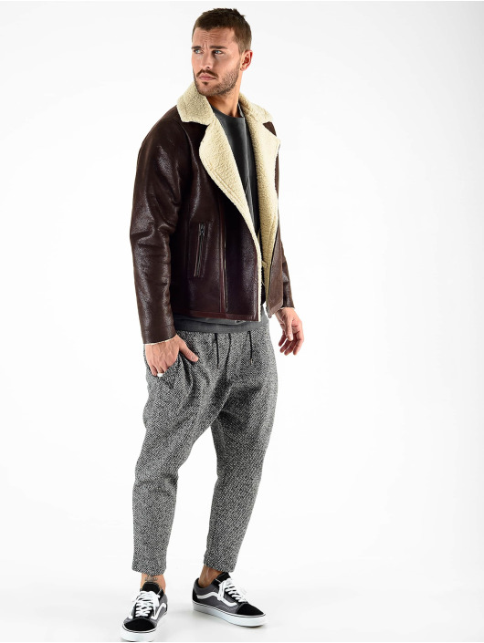 VSCT Clubwear Zimné bundy VSCT Clubwear Sheepskin Biker Jacket hnedá