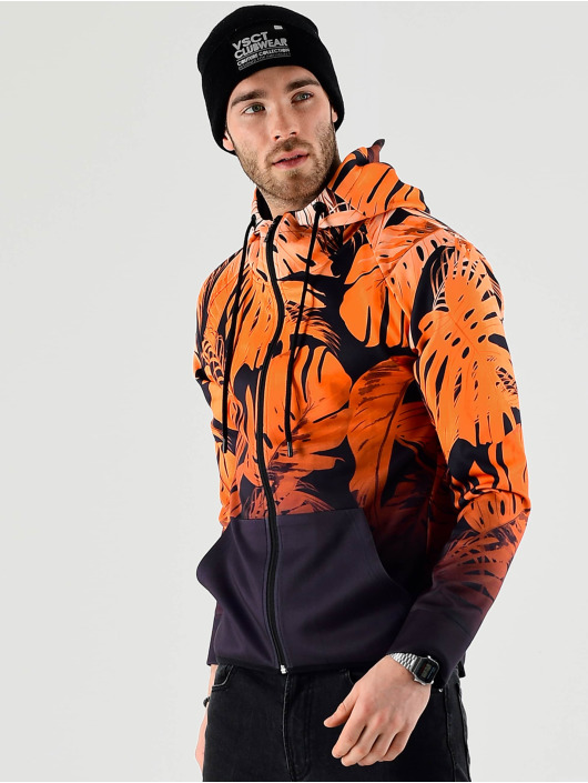 VSCT Clubwear Zip Hoodie Graded Tech Fleece Hooded Leaf-Camo oranžová