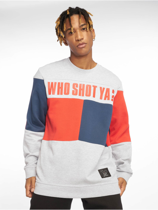 Who Shot Ya? Pullover Block grau