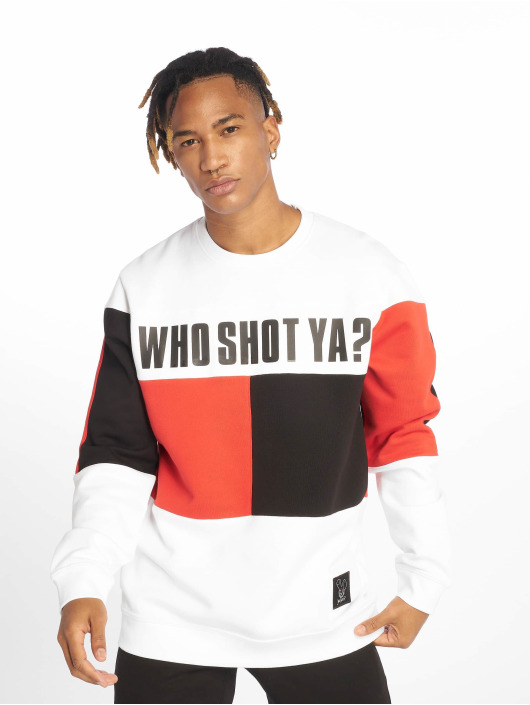 Who Shot Ya? Pullover Block weiß
