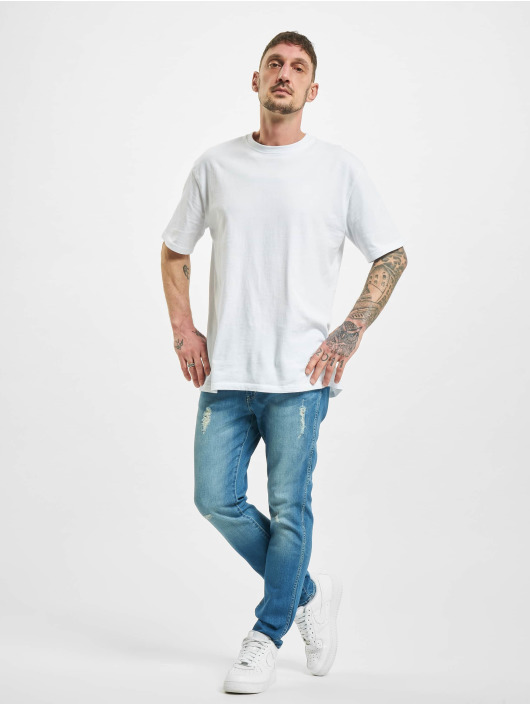 Wrangler Straight Fit Jeans Destroyed blå