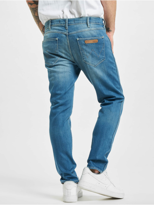 Wrangler Straight fit jeans Destroyed blauw