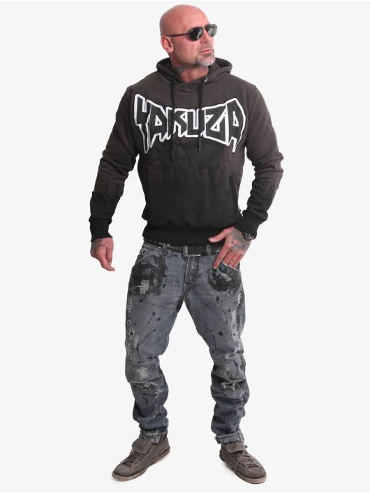 Yakuza Bluzy z kapturem Splatter Skull czarny