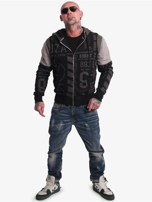 Yakuza Bluzy z kapturem Allover Pattern Tri Fac czarny