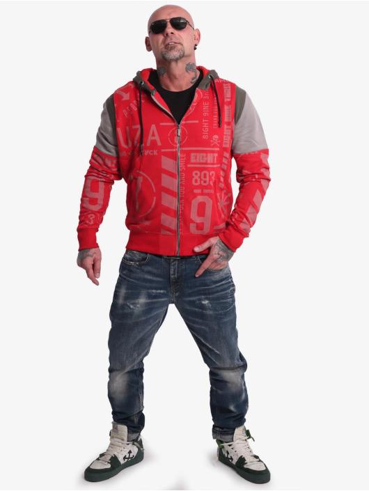 Yakuza Bluzy z kapturem Allover Pattern Tri Face czerwony