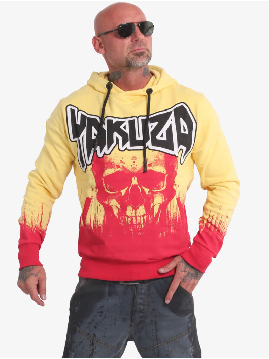 Yakuza Bluzy z kapturem Splatter Skull zólty