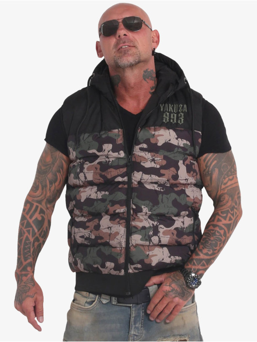 Yakuza Bodywarmer Fck Society Quilted Hooded camouflage