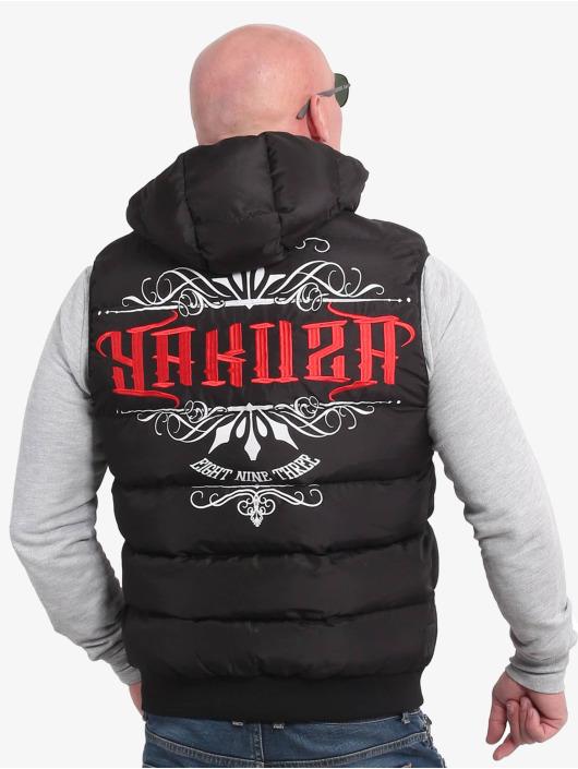 Yakuza Bodywarmer Felt Logo V02 Quilted Hooded zwart
