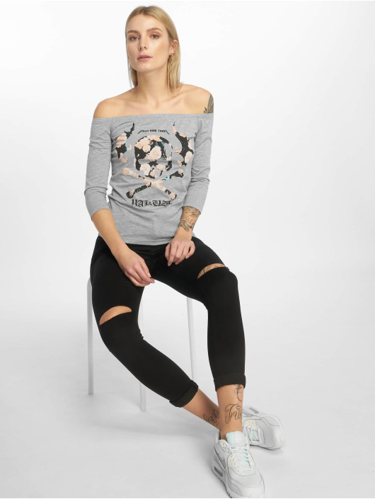 Yakuza Camiseta de manga larga Flying Skull Off Shoulder gris