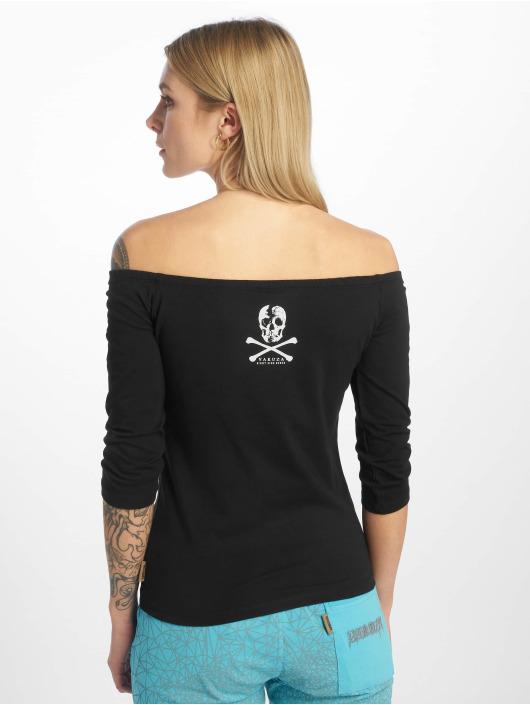 Yakuza Camiseta de manga larga Flying Skull Off Shoulder negro