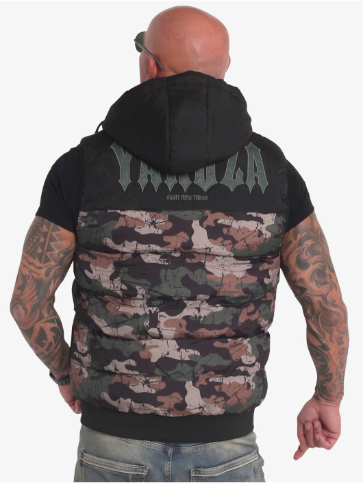 Yakuza Gilet Fck Society Quilted Hooded mimetico