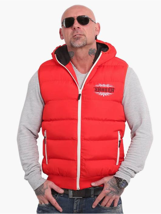 Yakuza Gilet Felt Logo V02 Quilted Hooded rosso
