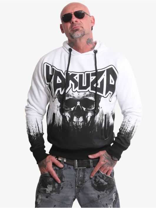 Yakuza Hoodie Splatter Skull white