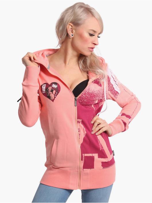 Yakuza Hoody Painted Gun Zip pink