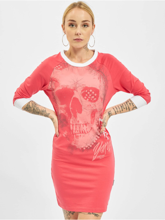 Yakuza Kleid Glowing Skull Bodycon pink