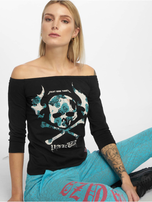 Yakuza Langærmede Flying Skull Off Shoulder sort