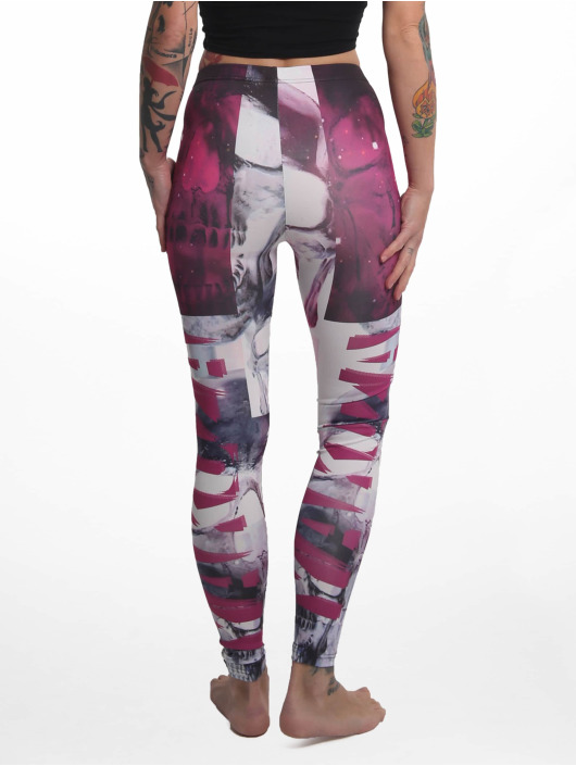 Yakuza Leggings/Treggings Purple Skull kolorowy