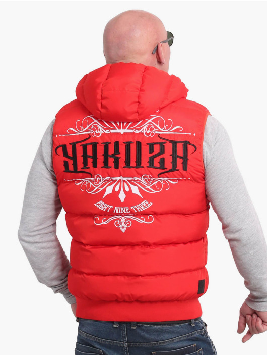 Yakuza Liivit Felt Logo V02 Quilted Hooded punainen