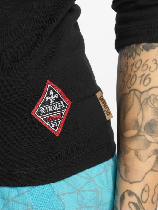 Yakuza Maglietta a manica lunga Flying Skull Off Shoulder nero