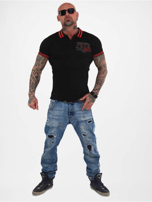 Yakuza Poloshirt Fuck Society Pique black