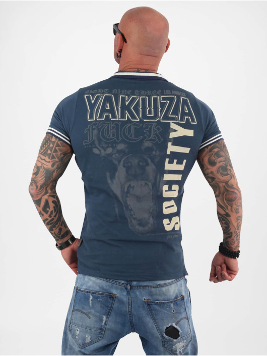 Yakuza Poloshirt Fuck Society Pique blau