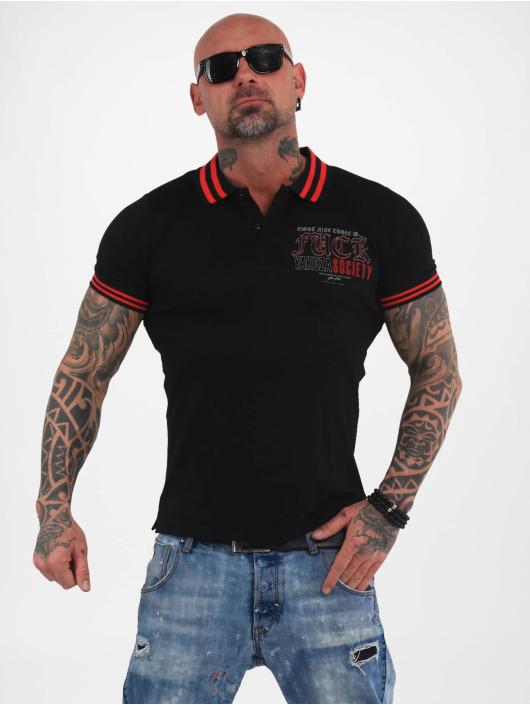 Yakuza Poloshirt Fuck Society Pique schwarz