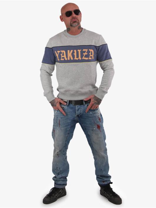 Yakuza Pullover Retro Stripe grau