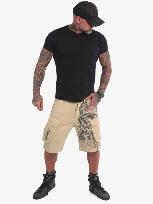 Yakuza Shorts Indian Skull beige