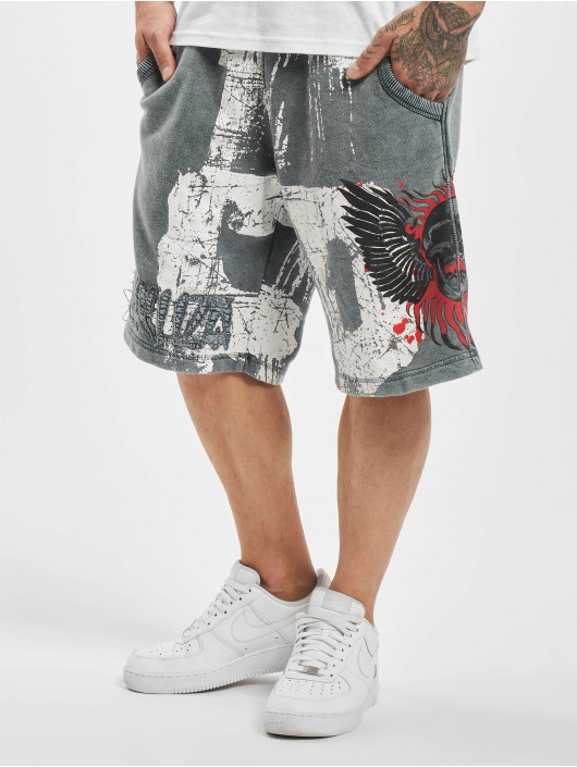 Yakuza Shorts Burning Skull Sweat blau