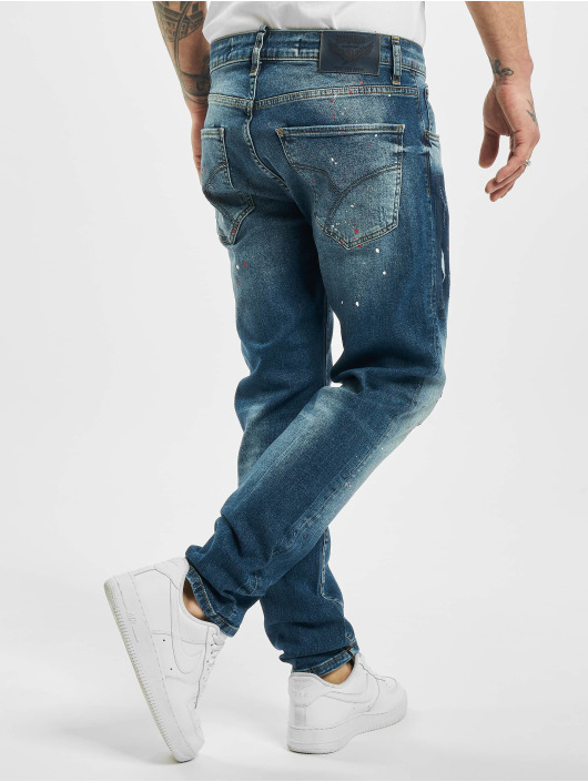 Yakuza Straight Fit Jeans Destroyer blå