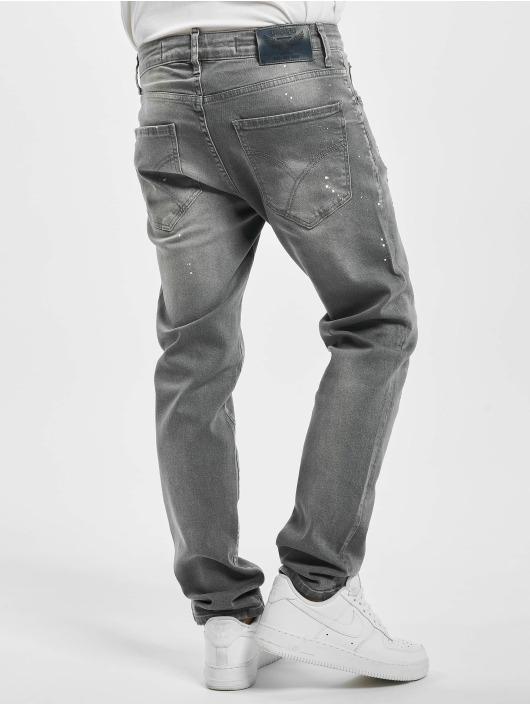 Yakuza Straight Fit Jeans Destroyer grau