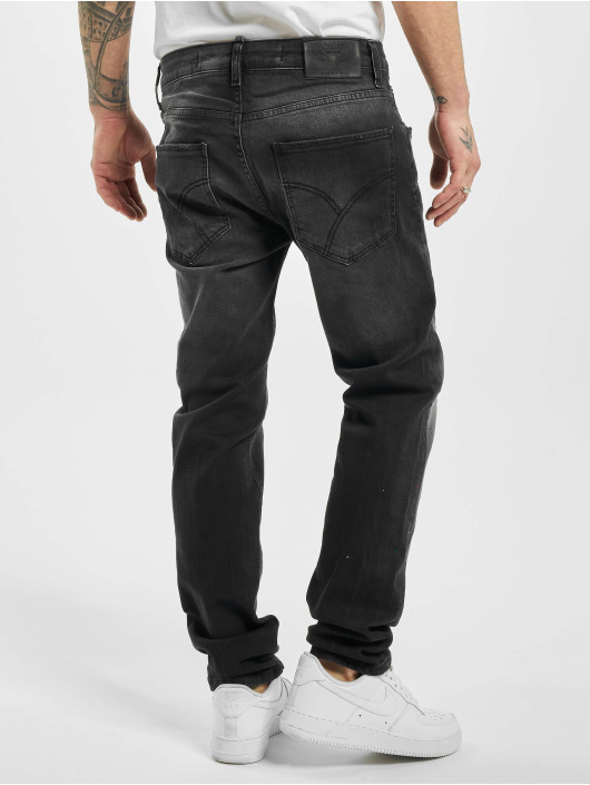 Yakuza Straight Fit Jeans Destroyer schwarz
