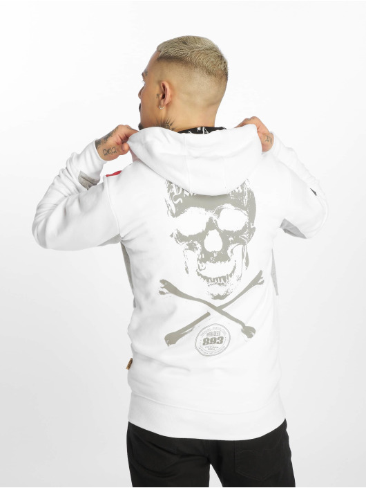 Yakuza Sweat capuche zippé Bastard Two Face blanc
